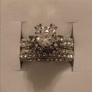 Jewelry - Sterling silver white sapphire wedding set sz 4.75